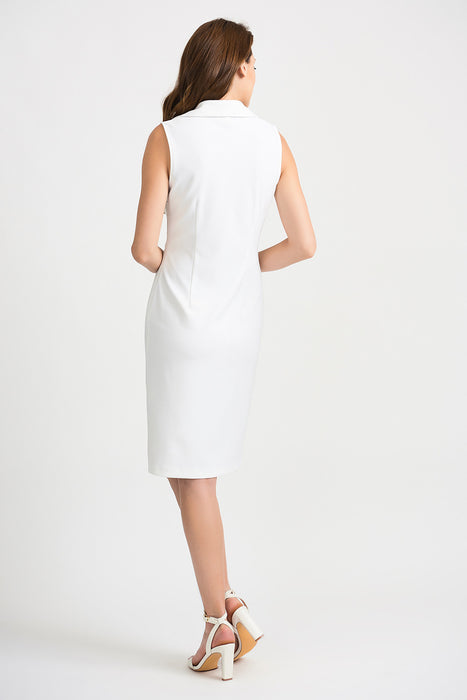 Joseph Ribkoff Vanilla Double-Breasted Accent Sleeveless Sheath Dress 201405 NEW