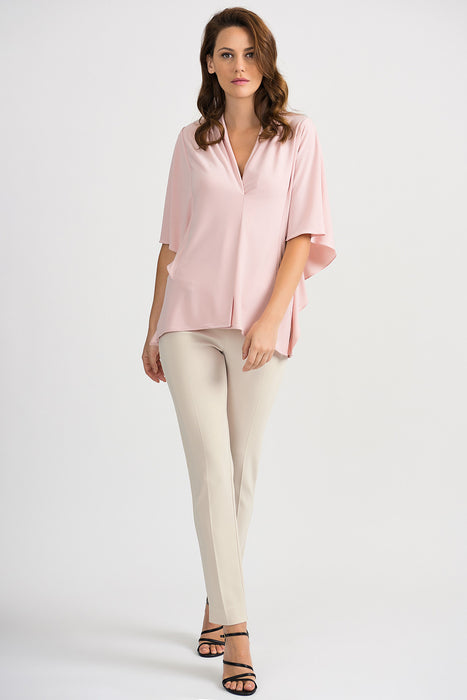 Joseph Ribkoff Dust Rose V-Neck Shirred Dolman Sleeve Blouse 201409 NEW