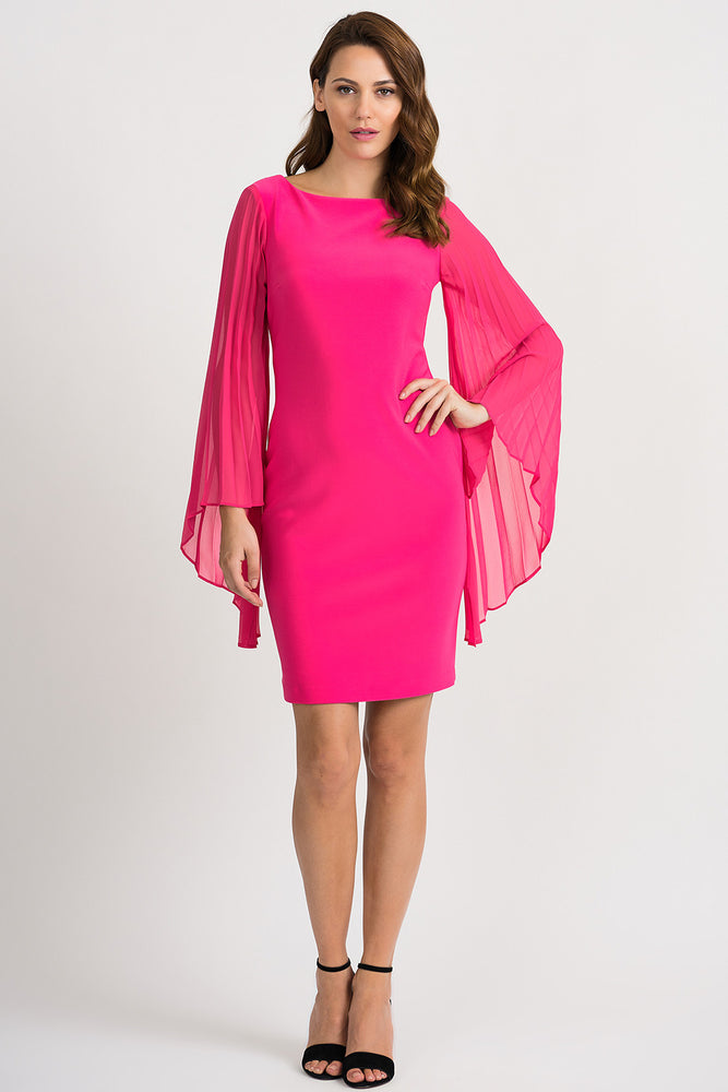 Joseph Ribkoff Style 201417 Hyper Pink Boat Neck Pleated Wide Sleeve Sheath Dress
