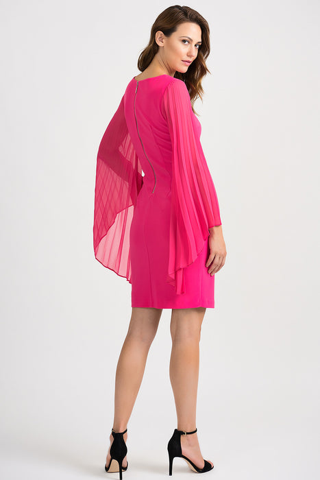 Joseph Ribkoff Hyper Pink Boat Neck Pleated Wide Sleeve Sheath Dress 201417 NEW