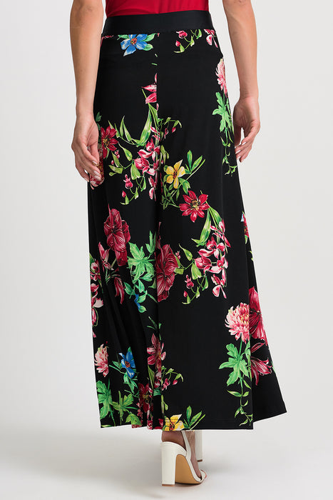 Joseph Ribkoff Black/Multi Floral Print Side Slit Palazzo Pants 201419 NEW