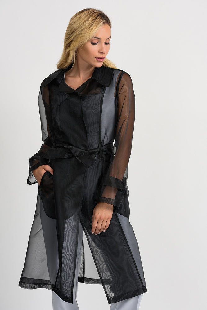 Joseph Ribkoff Style 201423 Black Belted Long Sleeve Sheer Trench Coat