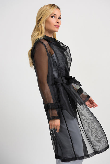 Joseph Ribkoff Black Belted Long Sleeve Sheer Trench Coat 201423 NEW