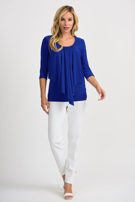 Joseph Ribkoff Royal Sapphire Pleated Draped Front Tee 201428 NEW