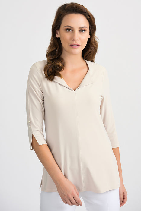 Joseph Ribkoff Style 201431 Champagne V-Neck 3/4 Sleeve Pearl Accent Top