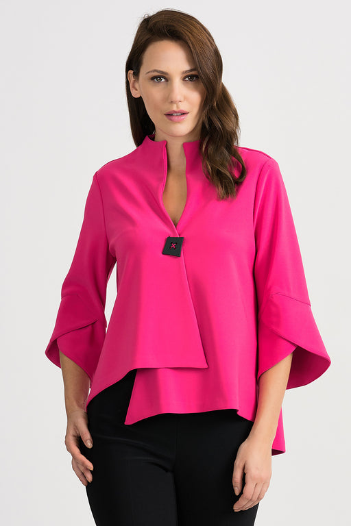 Joseph Ribkoff Style 201444 Hyper Pink Tulip Sleeve Asymmetric Cover-Up Jacket