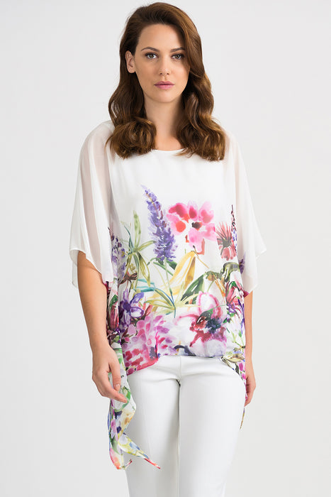 Joseph Ribkoff Style 201449 Vanilla Multicolor Sheer Floral Print Overlay Blouse