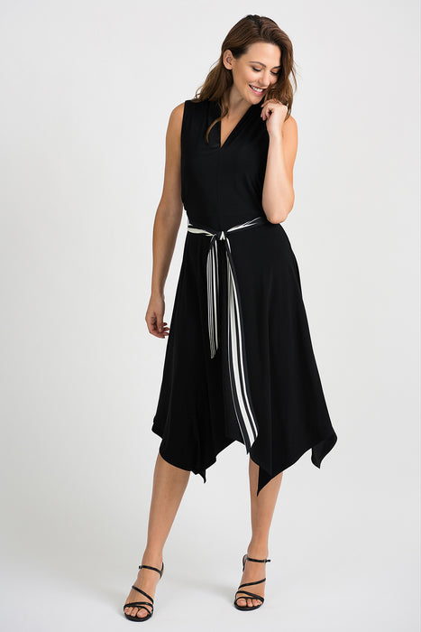 Joseph Ribkoff Style 201457 Black V-Neck Striped Waist Sash Asymmetric Hem Midi Dress