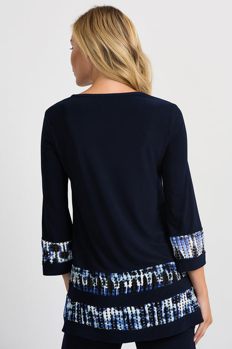 Joseph Ribkoff Blue/Black Abstract Print Textured Woven Band Tunic Top 201458 NEW