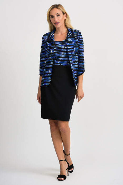 Joseph Ribkoff Black/Blue Floral Striped 3/4 Sleeve Twin Set Jacket 201479 NEW