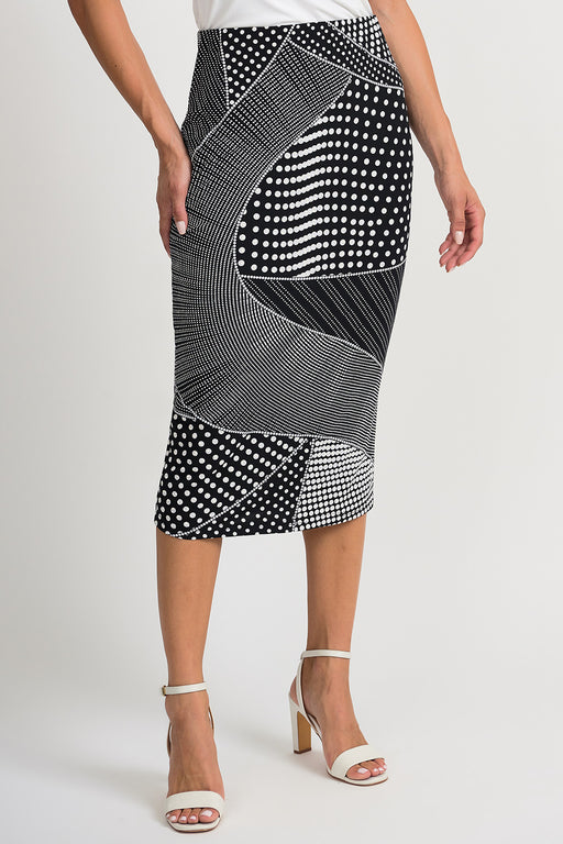 Joseph Ribkoff Style 201480 Black White Blocked Polka Dot Slip-On Pencil Skirt