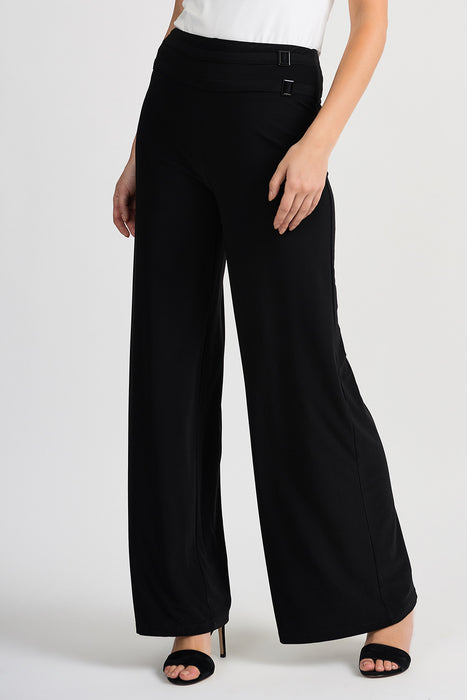 Joseph Ribkoff Style 201482 Black Belt Buckle Accent Slip-On Palazzo Pants