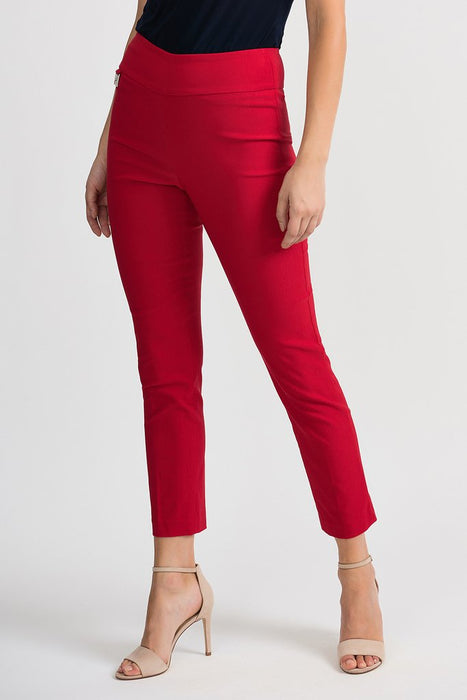 Joseph Ribkoff Style 201483 Lipstick Red Straight Leg Slip-On Cropped Pants