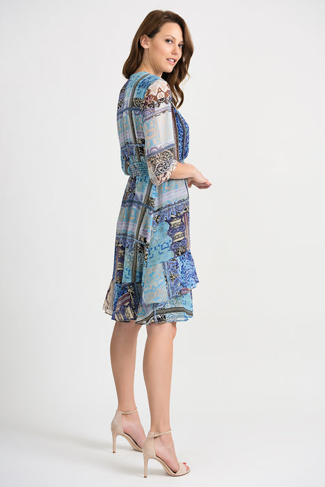 Joseph Ribkoff Multi Paisley Print Tiered Ruffle Hem A-Line Dress 201493 NEW