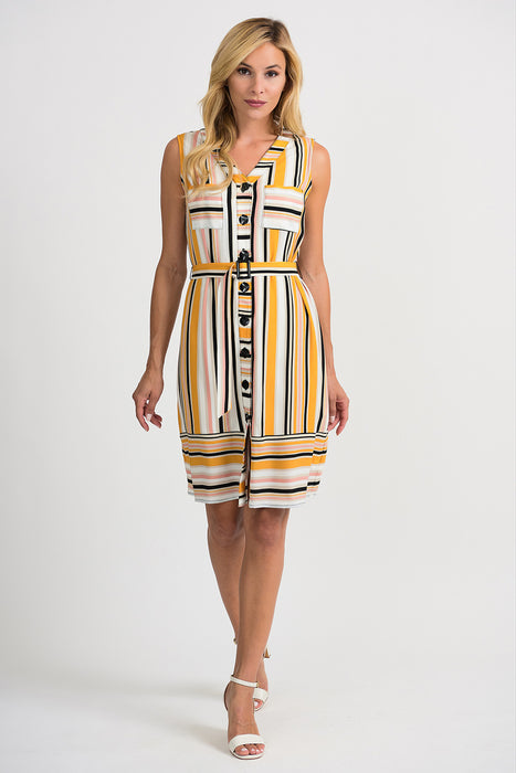 Joseph Ribkoff Style 201494 Multicolor Striped Button-Down Belted Shirt Dress