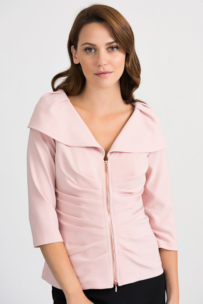 Joseph Ribkoff Style 201499 Rose Ruched Oversized Collar Zip-Up Jacket