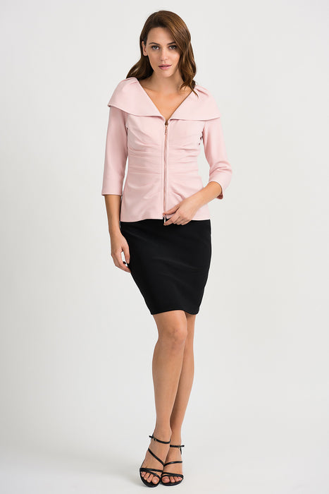 Joseph Ribkoff Rose Ruched Oversized Collar Zip-Up Jacket 201499 NEW