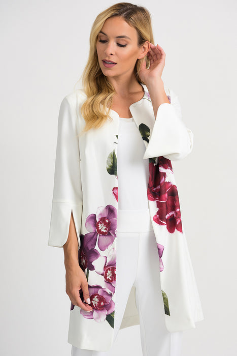 Joseph Ribkoff Style 201501 Vanilla Multicolor Floral Print Open Front Jacket