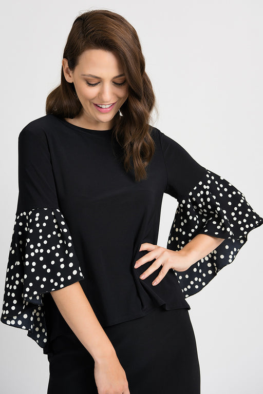 Joseph Ribkoff Style 201504 Black Vanilla Polka Dot 3/4 Sleeve High-Low Hem Top