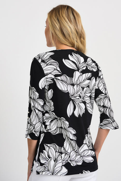 Joseph Ribkoff Black/White Floral Print 3/4 Sleeve Blouse 201506 NEW