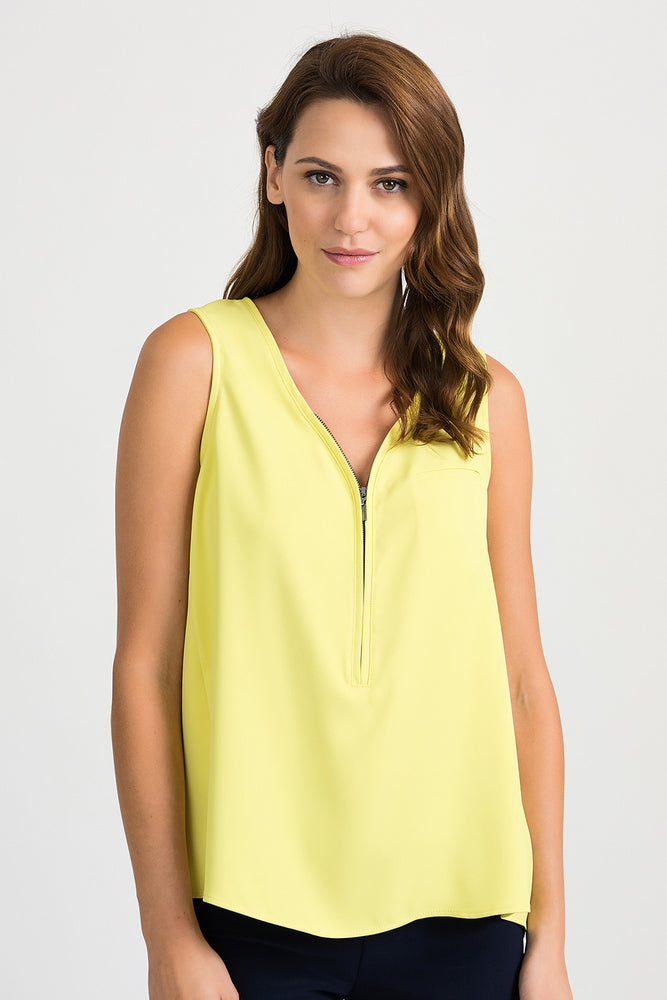 Joseph Ribkoff Style 201507 Lemon Zest V-Neck Sleeveless High-Low Hem Camisole