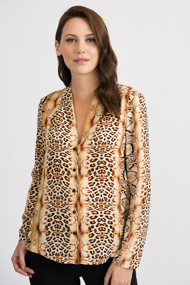 Joseph Ribkoff Style 201522 Brown Black Gold Animal Print Button-Down Blouse