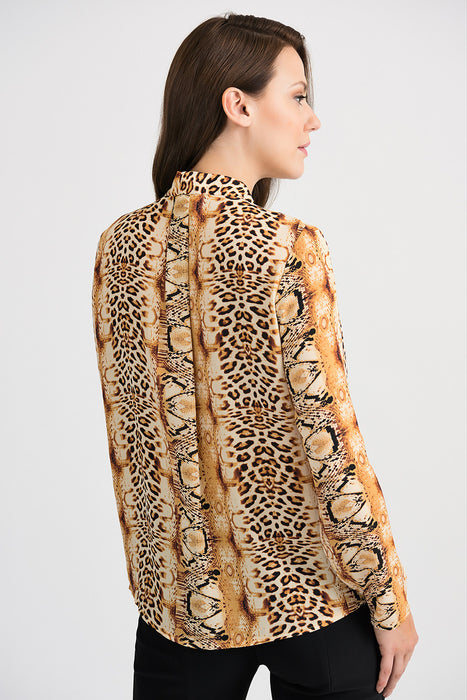 Joseph Ribkoff Brown/Black/Gold Animal Print Button-Down Blouse 201522 NEW