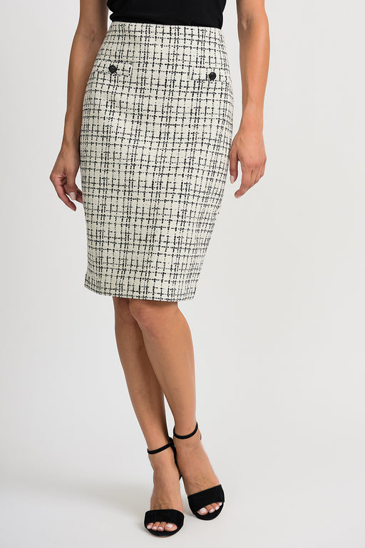 Joseph Ribkoff Style 201526 White Black Crosshatch Slip-On Pencil Skirt