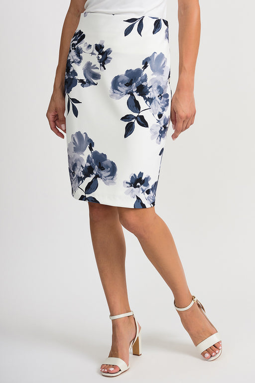 Joseph Ribkoff Style 201527 Vanilla Grey Floral Print Slip-On Pencil Skirt