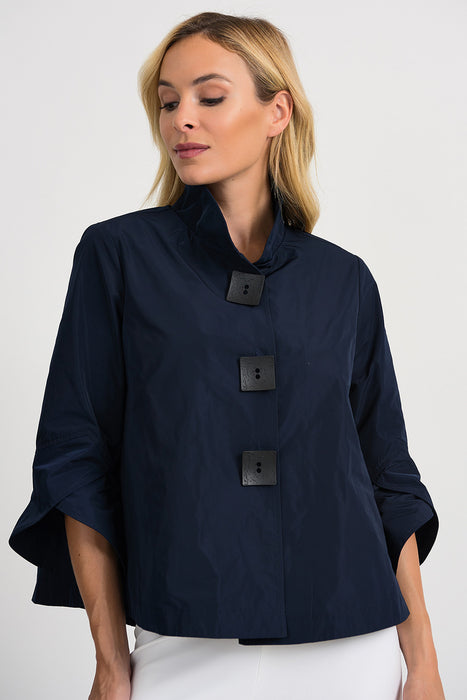 Joseph Ribkoff Style 201541 Midnight Blue Tulip Sleeve Button Closure Cover-Up Jacket