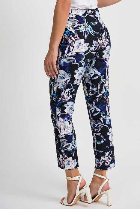 Joseph Ribkoff Black/Multi Floral Print Straight Leg Cropped Pants 201640 NEW