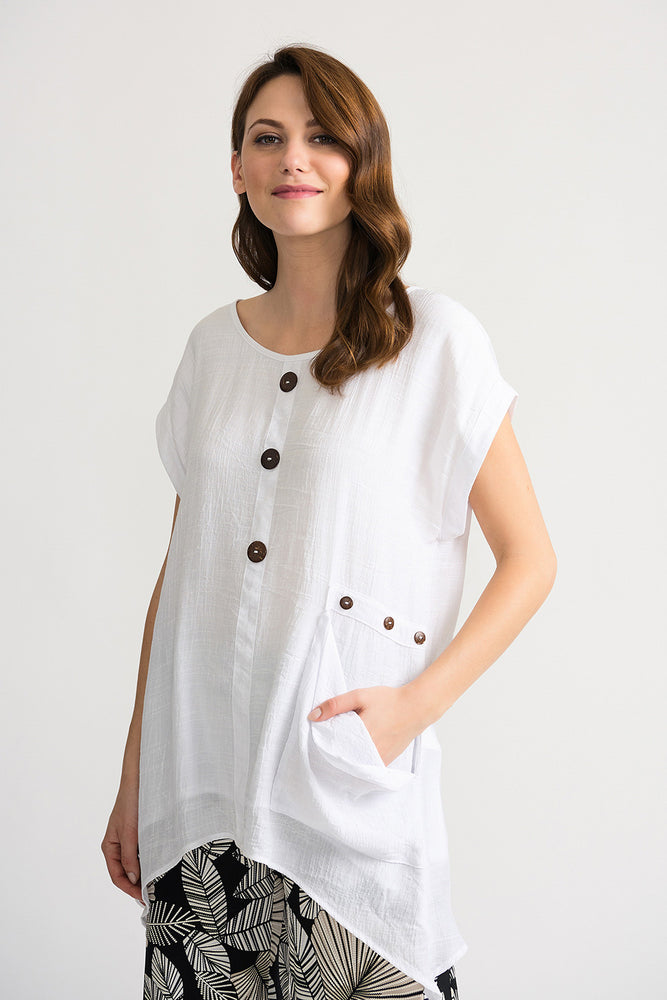 Joseph Ribkoff Style 202003 White Wooden Button Accents Cap Sleeve Tunic Top