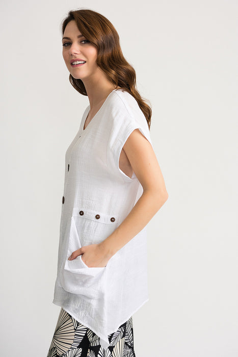 Joseph Ribkoff White Wooden Button Accents Cap Sleeve Tunic Top 202003 NEW