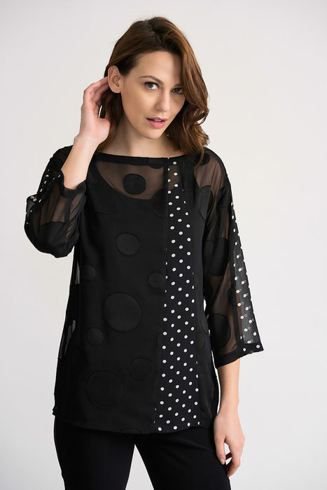 Joseph Ribkoff Style 202011 Black White Polka Dot Sheer Overlay 3/4 Sleeve Twin Set Top