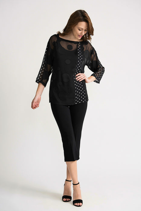 Joseph Ribkoff Black/White Polka Dot Sheer Overlay 3/4 Sleeve Twin Set Top 202011 NEW