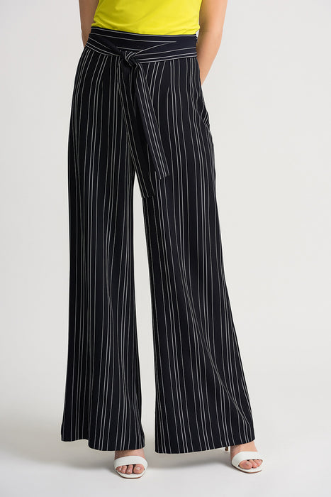 Joseph Ribkoff Style 202024 Navy White Striped Belted Palazzo Pants