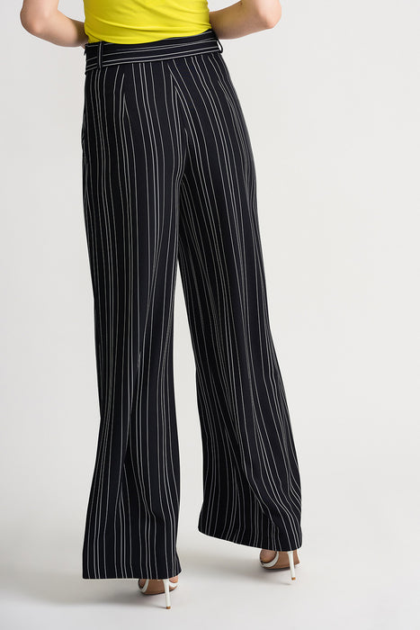 Joseph Ribkoff Navy/White Striped Belted Palazzo Pants 202024 NEW