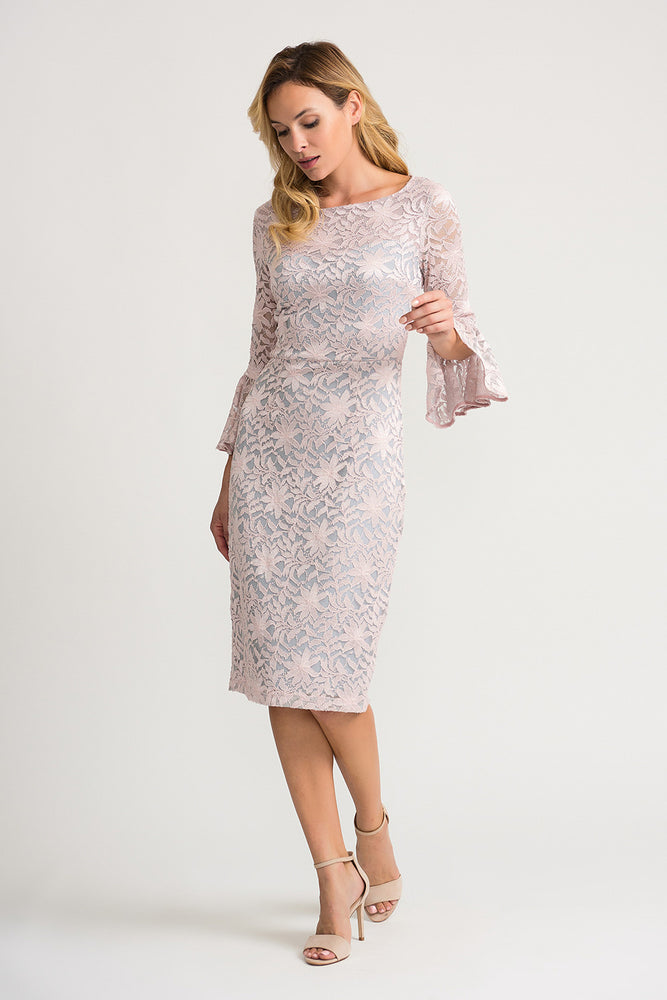 Joseph Ribkoff Style 202029 Grey Frost Rose Floral Lace Overlay 3/4 Sleeve Sheath Dress
