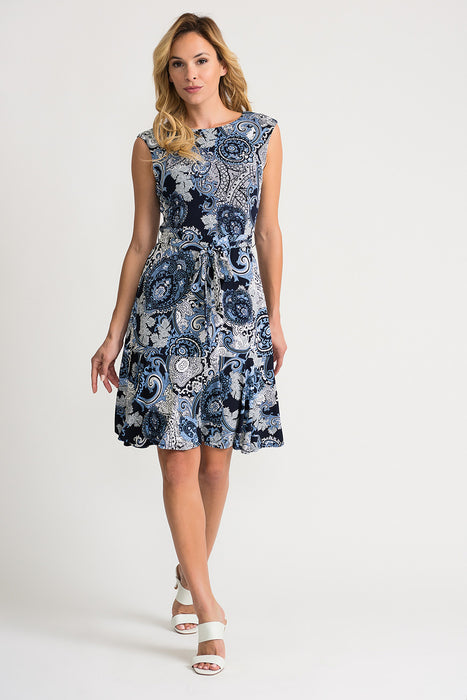 Joseph Ribkoff Style 202032 Midnight Blue Multicolor Paisley Print Belted Fit And Flare Dress