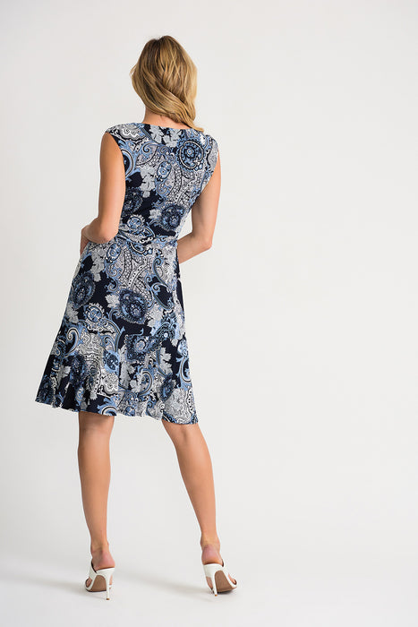Joseph Ribkoff Midnight Blue/Multi Paisley Print Belted Fit And Flare Dress 202032 NEW