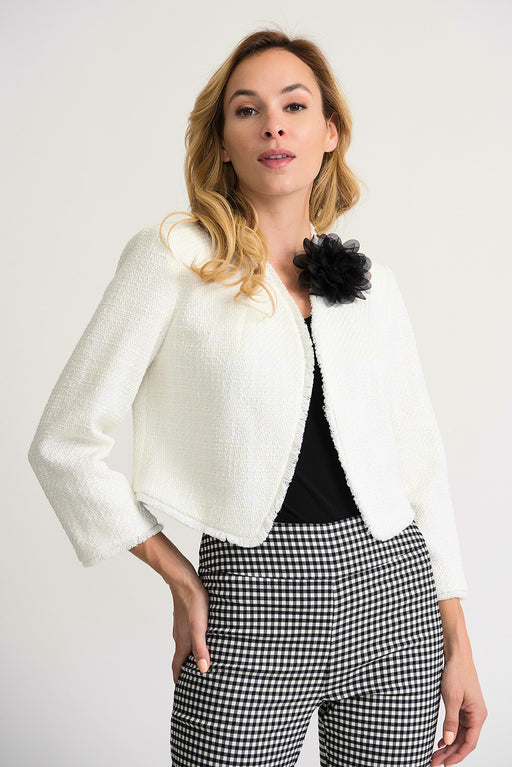 Joseph Ribkoff Style 202041 Vanilla Flower Accent Open Front Textured Cropped Jacket