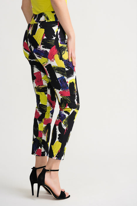 Joseph Ribkoff Multi Painted Slip-On Cropped Pants 202045 NEW