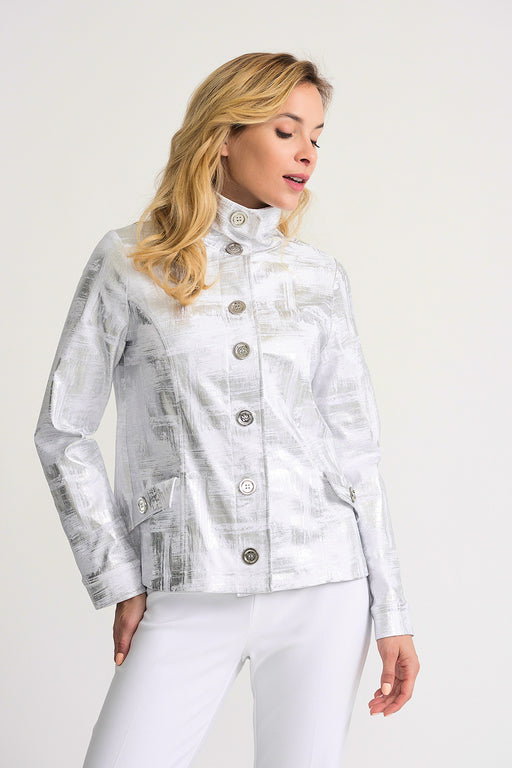 Joseph Ribkoff Style 202049 White Silver Metallic Crosshatch Print Long Sleeve Jacket