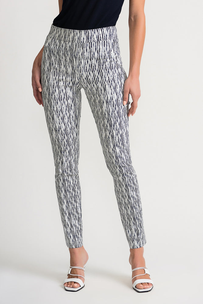 Joseph Ribkoff Style 202058 Vanilla Indigo Wavy Striped Slip-On Cropped Pants