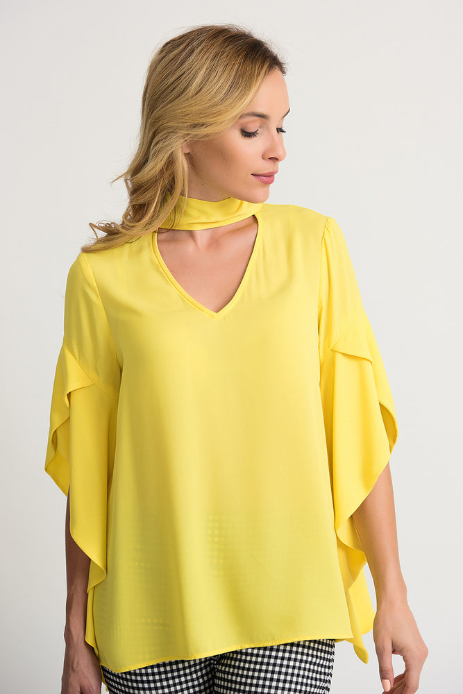 Joseph Ribkoff Style 202063 Sunshine Choker Neck Ruffled Asymmetric Sleeve Top