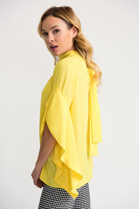 Joseph Ribkoff Sunshine Choker Neck Ruffled Asymmetric Sleeve Top 202063 NEW