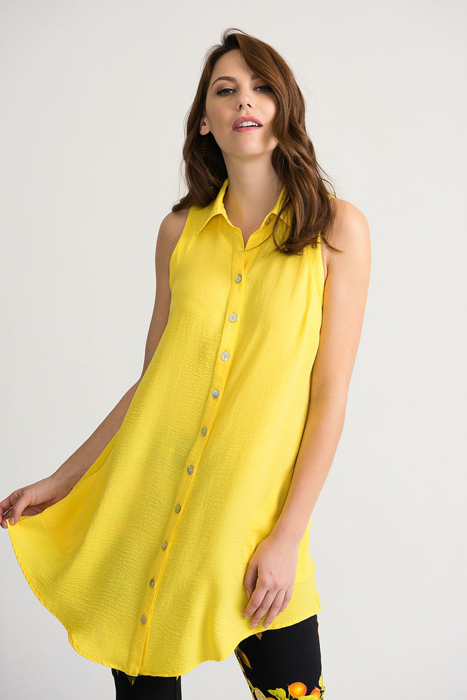 Joseph Ribkoff Style 202079 Sunshine Button-Down Sleeveless Tunic Top