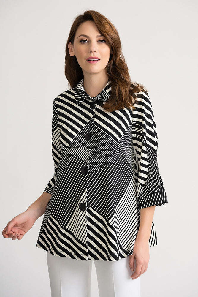 Joseph Ribkoff Style 202083 Black/Off-White Blocked Stripes Button-Down Cover-Up Jacket