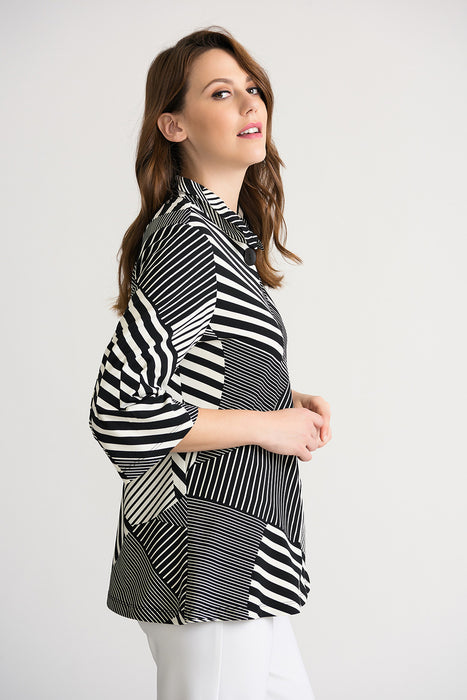 Joseph Ribkoff Black/Off-White Blocked Stripes Button-Down Cover-Up Jacket 202083 NEW