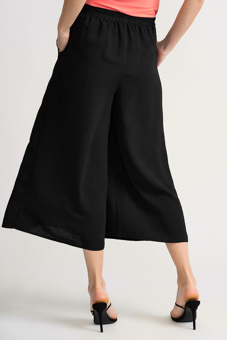 Joseph Ribkoff Black Layered Front Slip-On Cropped Palazzo Pants 202098 NEW